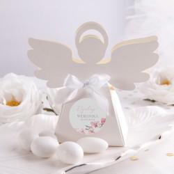 PUDEŁECZKA Aniołek na Chrzest i Komunię Różowe Serce 10szt (+etykiety z imieniem+białe wstążki)