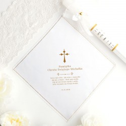CHUSTECZKA SZATKA do Chrztu z imieniem i datą Złoty Krzyżyk ZŁOTA