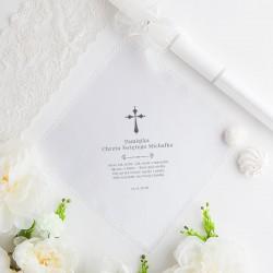 CHUSTECZKA SZATKA do Chrztu z imieniem i datą Srebrny Krzyżyk BIAŁA