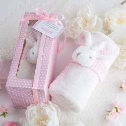PREZENT na narodziny dziecka KOCYK z króliczkiem w pudełku RÓŻOWY