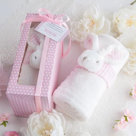 PREZENT na Chrzest Roczek Narodziny KOCYK z króliczkiem w pudełku RÓŻOWY