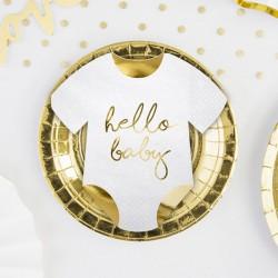SERWETKI Śpioszki ze złotym napisem Hello Baby 16x16cm 20szt