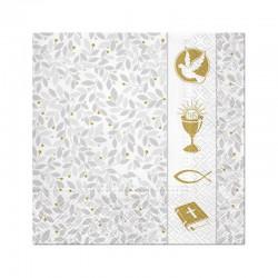SERWETKI na Chrzest srebrno-złote 33x33cm 20szt