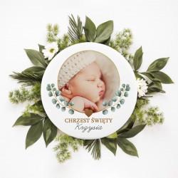 MAGNES ze zdjęciem dziecka na Chrzest Eukaliptus