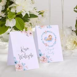 WIZYTÓWKI do wypisania na Chrzest Chłopiec w kwiatach 10szt