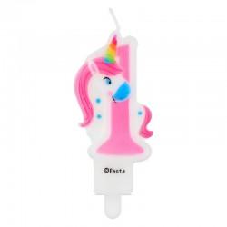 ŚWIECZKA urodzinowa na Roczek CYFRA 1 Unicorn Jednorożec