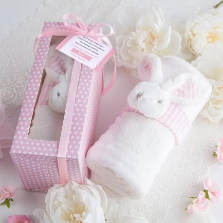 PREZENT na Roczek KOCYK z króliczkiem w pudełku RÓŻOWY