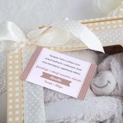PREZENT na narodziny dziecka KOCYK z misiem w pudełku BEŻOWY