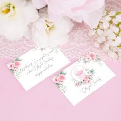BILECIKI podziękowanie na Chrzest Kwiatowy Wózek Róż 10szt