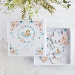 PROŚBA o bycie Chrzestnym w pudełku Z IMIENIEM Puzzle Chłopiec w kwiatach