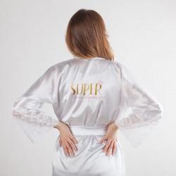 SZLAFROK satynowy Super Mama koronka LUX Z IMIENIEM Prezent na Baby Shower