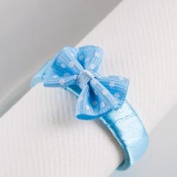 OBRĄCZKI NA SERWETKI satynowe Błękitna Kokardka 10szt KONIEC SERII