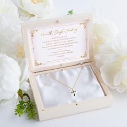 PAMIĄTKA Chrztu Świętego Łańcuszek z krzyżykiem POZŁACANE SREBRO + Imię w pudełku