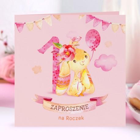 ZAPROSZENIA na Roczek dziewczynki Króliczek z balonem 10szt (+koperty)