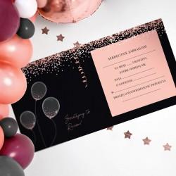 ZAPROSZENIA na Urodziny Rosegold Black 10szt (+koperty)