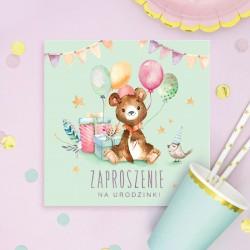 ZAPROSZENIA na Urodzinki Miś z balonikami 10szt (+koperty)