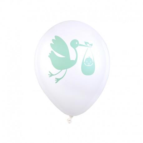 BALONY na Baby Shower Bocian Niebieski 8szt