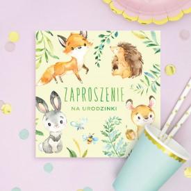 ZAPROSZENIA na Urodzinki Leśne Zwierzątka 10szt (+koperty)