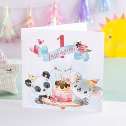 ZAPROSZENIA na Roczek Panda i Koala 10szt (+koperty)