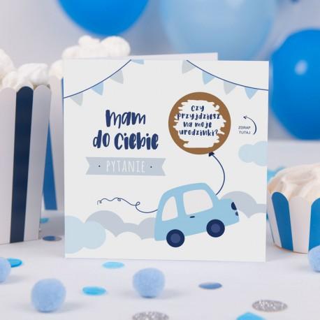 ZAPROSZENIE na Urodziny Autka ZE ZDRAPKĄ (+błękitna koperta)