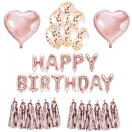 ZESTAW balonów urodzinowych ROSEGOLD