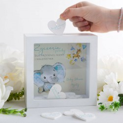 SKARBONKA z życzeniami dla Przyszłej Mamy Baby Shower Z IMIENIEM (+20 serduszek)