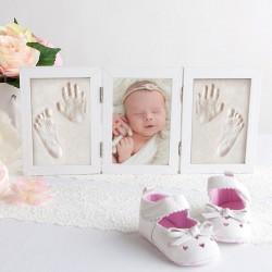 RAMKA 3D na odcisk bobasa Prezent na narodziny dziecka + 2 GLINKI