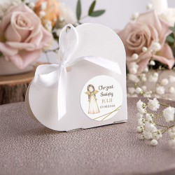 PUDEŁECZKA SERCA na Chrzest Anioł Stróż 10szt (+etykiety+białe wstążki)