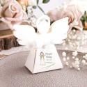 PUDEŁECZKA Aniołek na Chrzest 10szt (+etykiety z imieniem+białe wstążki)