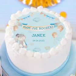 OPŁATEK na tort na Roczek chłopca Niebieski Króliczek Ø20cm