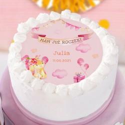 OPŁATEK na tort Roczek dziewczynki Różowy Króliczek Ø20cm
