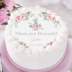 OPŁATEK na tort Roczek Kwiatowa Jedynka Ø20cm