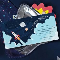 ZAPROSZENIA na urodziny Astronauta 10szt (+koperty)