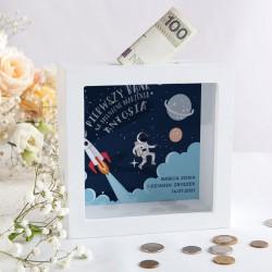 PREZENT na Roczek/Urodziny Skarbonka Astronauta Z IMIENIEM