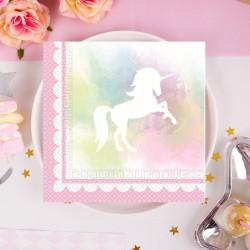 SERWETKI papierowe na Urodziny Tęczowy Jednorożec 33x33cm 20szt