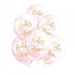 BALONY na Baby Shower + różowe konfetti Transparentne ZŁOTY NAPIS 6szt