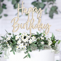 TOPPER na tort Happy Birthday DREWNIANY