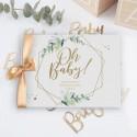 KSIĘGA pamiątkowa na Baby Shower Oh Baby Botaniczna Z IMIENIEM (+złota wstążka)