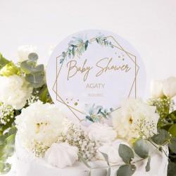 TOPPER na tort Botaniczne Baby Shower Z IMIENIEM
