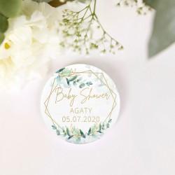PRZYPINKA personalizowana Botaniczne Baby Shower Z IMIENIEM