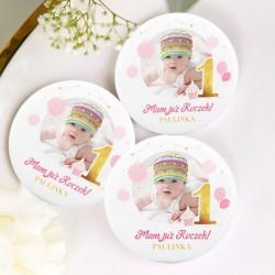 MAGNES na Roczek ZE ZDJĘCIEM dziecka personalizowany Różowo-Złota Jedynka