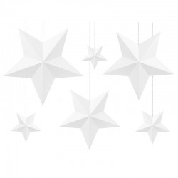 PAPIEROWE gwiazdy Dekoracja pokoju dziecięcego BIAŁE 6szt