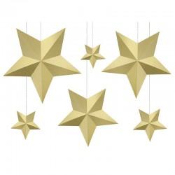PAPIEROWE gwiazdy Dekoracja pokoju dziecięcego ZŁOTE 6szt