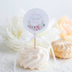 PIKERY do muffinek na Chrzest Kwiatowy Wózek RÓŻ Z IMIENIEM 10szt (+naklejki)