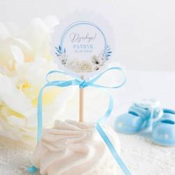 PIKERY do muffinek na Chrzest Kwiatowy Wózek BŁĘKIT Z IMIENIEM 10szt (+naklejki)