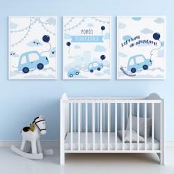 PLAKATY dla dziecka do pokoju  A4/A3 Autka 3szt