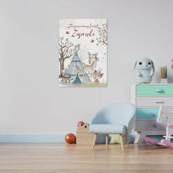 PLAKAT dla dziecka do pokoju Z IMIENIEM A4/A3 Boho Zwierzątka