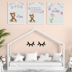PLAKATY dla dziecka do pokoju A4/A3 Miś z balonikami 3szt