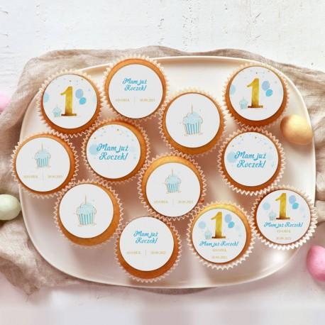 OPŁATKI na muffinki na Roczek Z IMIENIEM Niebiesko-Złota Jedynka 12szt