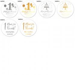 NAKLEJKI etykiety Z IMIENIEM dziecka na Roczek 10szt BŁYSK METALICZNE